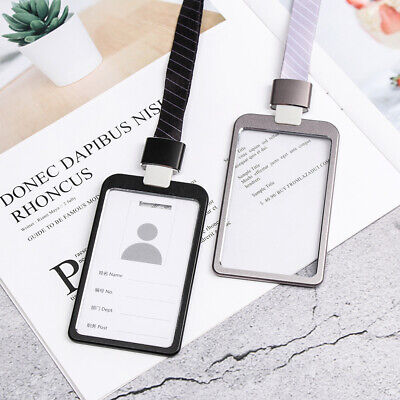 1PC Aluminum Alloy ID Badge Holders Business Bus Pass Card Case With Lanyard • 3.37£