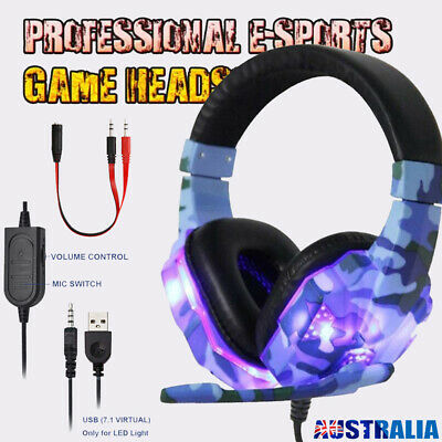 AU29.99 • Buy 3.5mm Gaming Headset With MIC Headphones Stereo For PC Mac Laptop PS4 Xbox One