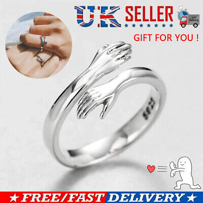 925 Silver Love Hug Ring Band Open Finger Rings Fully Adjustable Jewelry Gift UK • 4.39£