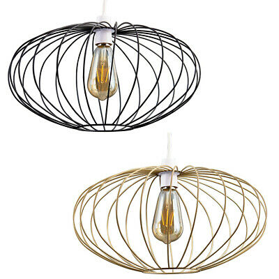 £8.99 • Buy Industrial Wire Cage Ceiling Light Shade Easy Fit Pendant + LED Filament Bulb