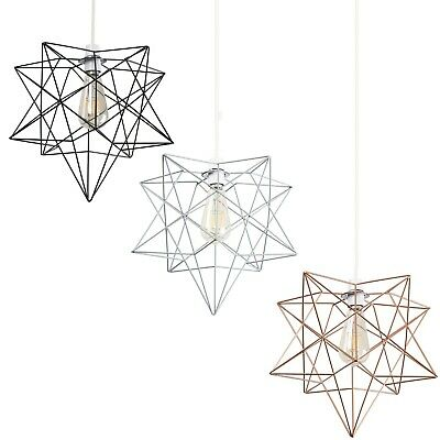 Metal Pendant Ceiling Shade LED Wire Frame Shade Style Vintage Filament Pear LED • 19.99£