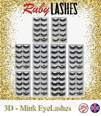 Luxury 5 Pair 3D Natural False Mink Eyelashes Long Thick Fake Eye Lashes Makeup • 3.89£