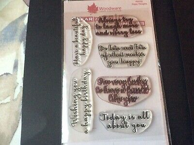 Woodware Sentiment Stamps Pack Of 6 • 2£