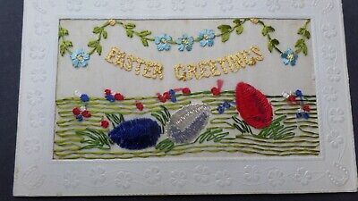 WW1 EMBROIDERED SILK Easter Greetings FROM DAD TO SON -a38-18 • 6.99£