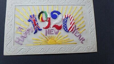 WW1 EMBROIDERED SILK A Happy New Year 1920 -a38-22 • 4.99£