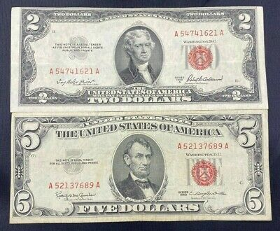 $ CDN30.61 • Buy US Paper Currency Red Seal Collection $5 Dollar Red Seal & $2 Dollar Red Seal