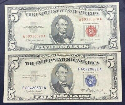 $ CDN31.88 • Buy US Paper Currency $5 Dollar Collection $5 Dollar Red Seal & $5 Dollar Blue Seal