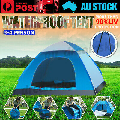 AU28.85 • Buy 3-4 Person Pop Up Tent Family Festival Camping Auto Hiking Beach Dome Tent New
