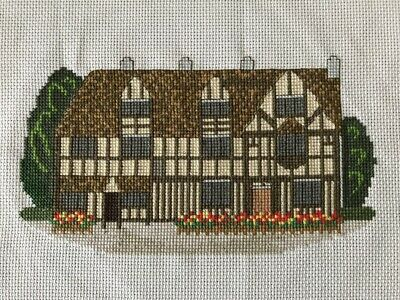 Handmade Completed Finished Cross Stitch - Beautiful Tudor House • 3£