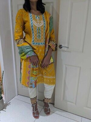 £22 • Buy 3 Piece Linen Shalwar Kameez /trouser Suit In Size Large Maria B Inspired