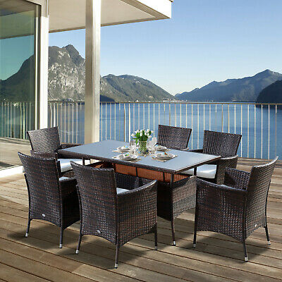 £570.99 • Buy Outdoor Garden Rattan Furniture Cube Dining Set Rectangular Table 6 Chairs Brown