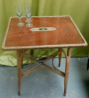 Belvoir LLoyd Loom Bamboo Vintage Side/Hall Table With Marquetry Design RTG/ML • 75£