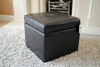 Black Genuine Leather Storage Footstool Pouffe NEW **Seconds** • 79.99£