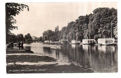THE COLLEGE BARGES, RIVER ISIS, OXFORD RP Used Vintage Postcard Late 1950s • 1.50£