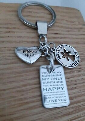 £2.95 • Buy Stainless Steel You Are My Sunshine Pendant Angel Love Keyring Bag Purse Charms