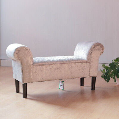 Crushed Velvet Chaise Longue Window Seat Bed Sofa Couch Bench Chair Bedroom • 87.95£