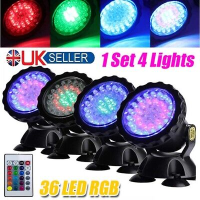 RGB LED Underwater Spot Light Aquarium Garden Fountain Pond Lamp 1 Set 4Lights • 15.45£