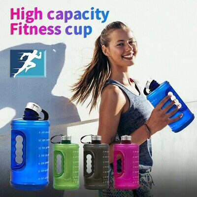 AU19.12 • Buy 2.2L Gallon Water Bottle Fitness Workout W/Time Marker Drink Large 73OZ Capacity