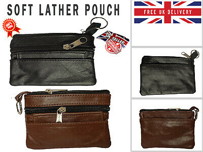 100% Genuine Leather Pouch 2 Zips Coin Holder Change Money Wallet Men And Women • 1.95£