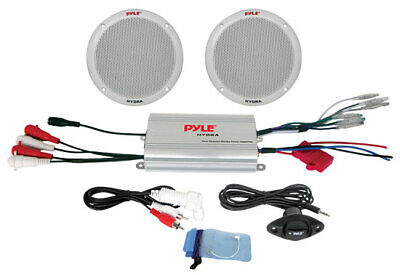 Pyle Marine Boat 2 Channel IPod Ready MP3 Amplifier Pair Of Speakers & Remote • 71.59£