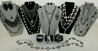 $ CDN18.97 • Buy Huge Vintage To Now Jewelry Lot All Wearable Platinum Black Silver Estate RM7