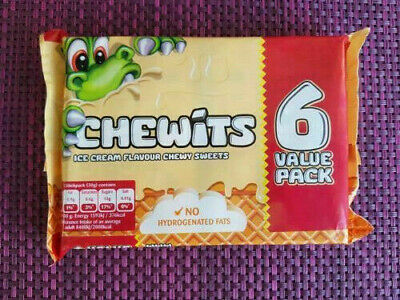 ICE CREAM FLAVOUR CHEWITS SOFT CHEWY TANGY CLASSIC RETRO SWEETS - 6 X 30g PACKS • 3.59£