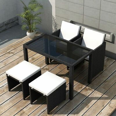 Outdoor Dining Set 11 Piece Black Poly Rattan Garden Patio Furniture NEW H8A9 • 368.99£