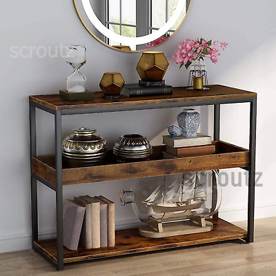 Industrial Console Table Rustic Hall Storage Stand Vintage Metal Shelving Unit • 94.90£