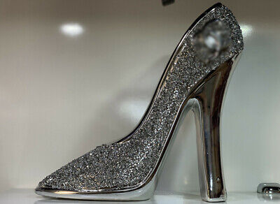 Xxl Silver Crushed Diamond Sparkly Modern Heels Ornament Bling Gift,shelf Sitter • 33.99£