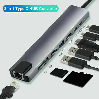 AU32.99 • Buy 8 In 1 Type-C HUB Converter 4K HDMI 2 USB3.0 USB C PD SD/TF RJ45 Adapter AU