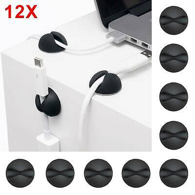 £3.19 • Buy 12x Black Cable Tidy Wire Cord Lead Drop Clips Charger Holder Desk Organiser