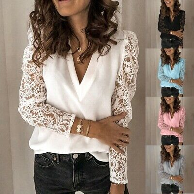 AU13.99 • Buy Womens Fashion Lace V-Neck Solid Shirts Long Sleeve Casual Blouse Tops Plus Size