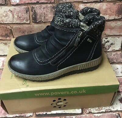 Pavers Relife Ankle Boots Black Size 4 37 Brand New In Box RRP £49.99 • 42.50£