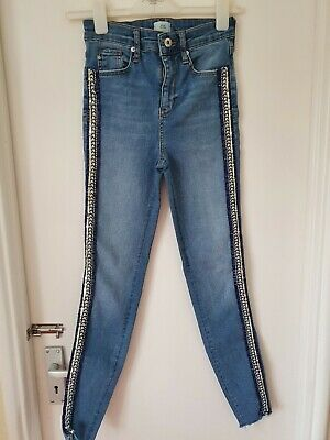 River Island High Waist Skinny Sequin Sided Jeans Size 6R 32L • 3.99£