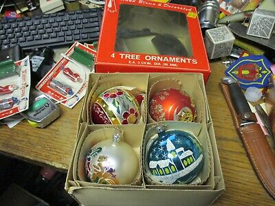 $ CDN7.58 • Buy Vintage Christmas Tree Ornaments 4 In Box Hand Blown & Decorated MADE IN POLAND