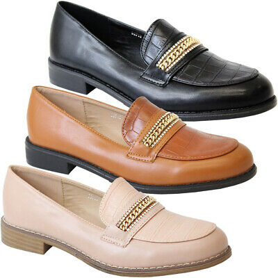£12.95 • Buy Womens Flats Croc Loafer Chain Office Brogue Pumps Ladies School Work Shoes Size