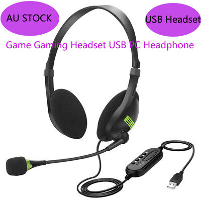 AU17.55 • Buy USB Gaming Headset With Microphone PC Laptop Noise Cancelling Gaming Headphones