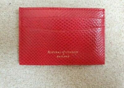 Aspinal Of London Slim Credit Card Holder Red Lizard, Brand New In Gift Box • 25£