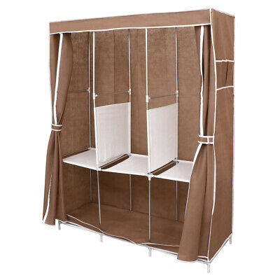 Coffee Portable Large Fabric Canvas Wardrobe Clothes Storage Rail Cover Cupboard • 13.95£
