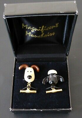Gromit, And Shaun The Sheep Cufflinks. Boxed. 1989 Aardman Wallace & Gromit • 4£