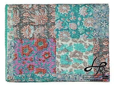 Cotton Kantha Quilt Indian Handmade Throw King Floral Bedspread Patch Coverlet • 44.98£