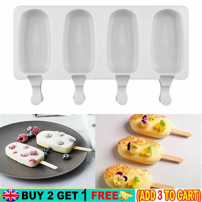 Silicone Ice Cream Mould Popsicle Lolly Frozen Dessert Maker Cakesicles Tray • 6.29£