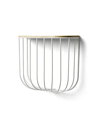 Danish Modern Menu  Cage  Wall Hung Shelf White Wire/light Ash Top New In Box • 97.68£