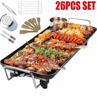 26pcs Set Electric Table Top Grill Griddle Hot Plate BBQ Barbecue Garden Camping • 22.89£