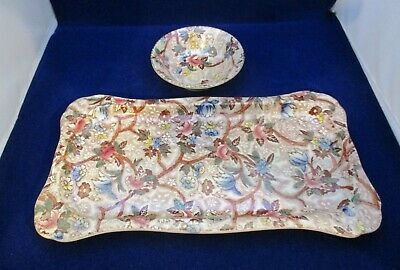 £28 • Buy Vintage Maling Lustre Table Tray And Trinket Bowl Brown Floral Decoration. 6527