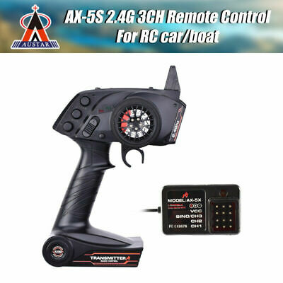 AUSTAR AX5S 2.4G 3CH AFHS Radio Transmitter With Receiver For RC Cart Boat Parts • 24.99£