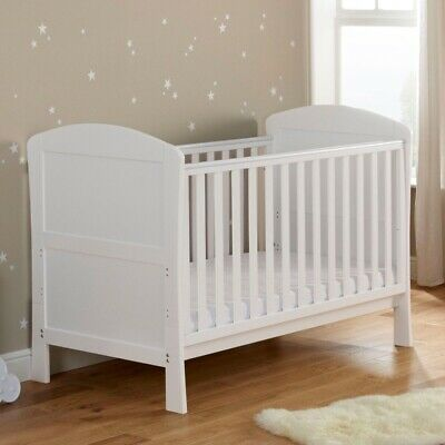 Babymore Drop Side Baby Cot Convertible Bed White Adjustable Teething Rail • 199.99£