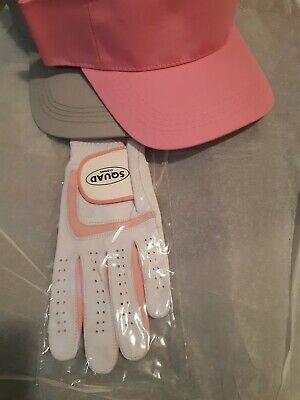 PINK Medium - Pub Golf Squad Fancy Dress Set. Visor & Glove Set. High Quality. • 9£