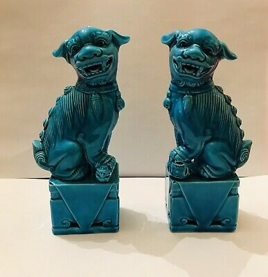 """Vintage Pair Of 6"""" Turquoise Blue Porcelain Chinese Foo Dogs • 40£"""