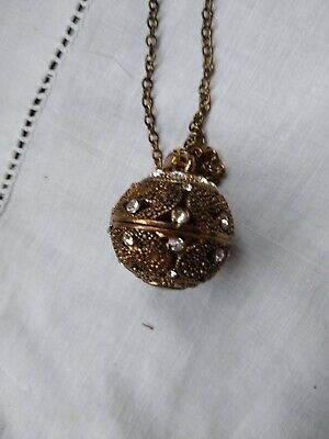Pendant Ball - Brass/bronze Coloured With Diamantes  18 Inch Chain • 0.99£